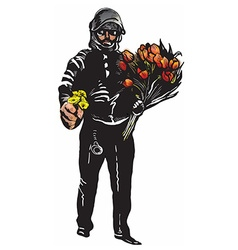 Policeman with flowers gentle hero - freehand vector