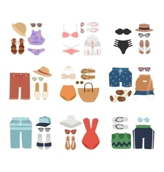Beachwear fashion travel different flat vector