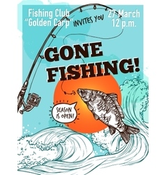 Hand drawn advertising fishing poster vector