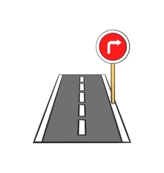 Road and red road sign pointing right icon vector