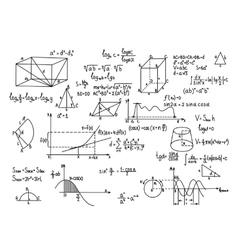 Hand drawn geometry formulas science knowledge vector