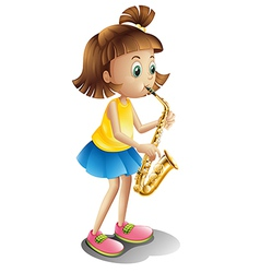 A young lady playing with the saxophone vector image vector image