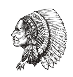 American indian chief hand-drawn sketch vector