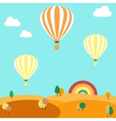 Balloons flying over the autumn landscape vector image vector image