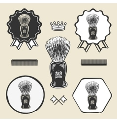 Barber shaving brush beard symbol emblem label vector