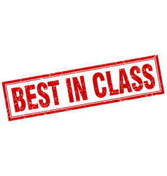 Best in class red grunge square stamp on white vector