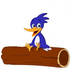 Bird on log vector