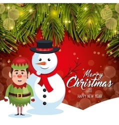 Card christmas with snow and elf red bakcground vector