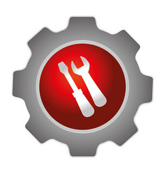 color gear emblem with screwdriver and wrench vector image