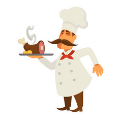 Cook with lamb leg served at tray isolated on vector