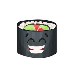 Cute happy roll character sushi with funny face vector