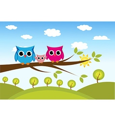 cute owls couple with baby owl vector image vector image
