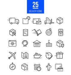 Delivery app modern linear icons set vector