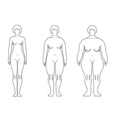 fat european women outline style human front side vector image vector image