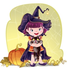 for Halloween with a little cute witc vector image