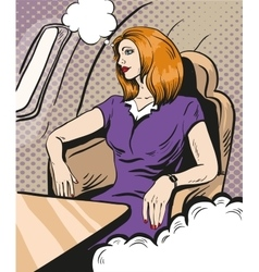 Girl siting and looking out the airplane window vector