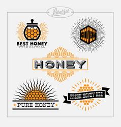 Honey bee label set vector