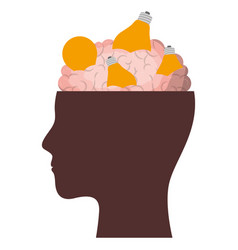 Human face brown silhouette with brain exposed vector
