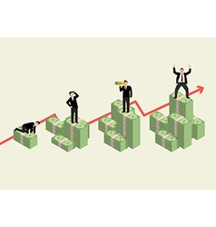 Increasing cash money with businessman in various vector image vector image