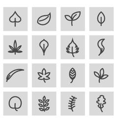 Line leaf icons set vector