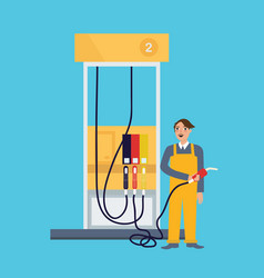 Male employee standing in gas station holding fuel vector