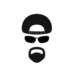 Man with baseball cap sunglasses and goatee vector