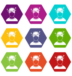 Man with dizziness icon set color hexahedron vector