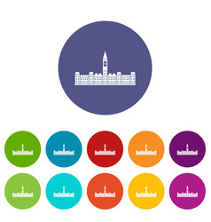 Parliament building of canada icons set flat vector