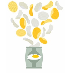 Potato chips taste like scrambled eggs packaging vector
