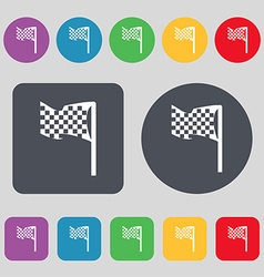 Racing flag icon sign a set of 12 colored buttons vector