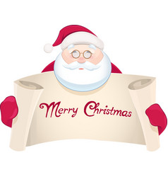 Santa Claus with greetings banner vector image vector image