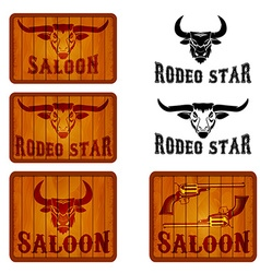 Set of saloon and rodeo emblems templates with vector image