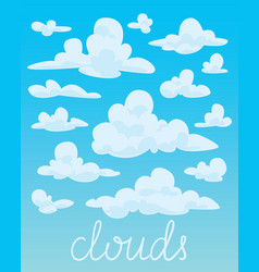 set of white fluffy clouds on blue sky background vector image vector image