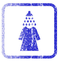 Shower wash female dress framed textured icon vector
