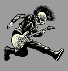 skull punk style guitarist vector image