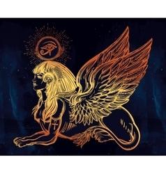 Sphinx beautiful ancient beast vector image vector image