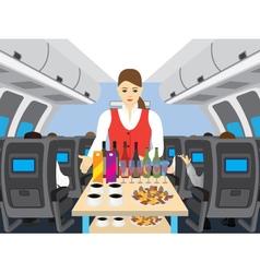 Stewardess in salon of the plane vector