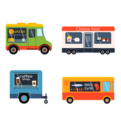 Street food festival color trailer vector