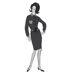 Stylish cloth woman fashion dressed girl 1960s vector