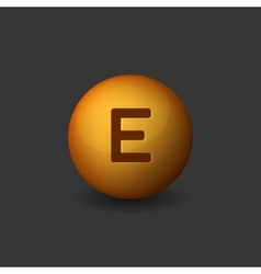 Vitamin e orange glossy sphere icon on dark vector