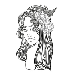 young beautiful woman with flower peony vector image