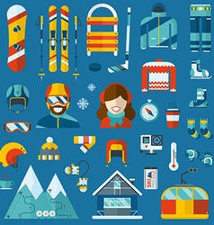 Winter activity flat icon collection vector