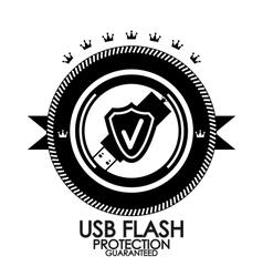 Black retro vintage label  tag  badge  usb flash vector image
