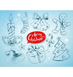 Christmas set on soft blue winter background vector