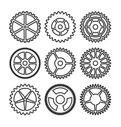clock gears outline icons set clock or vector image