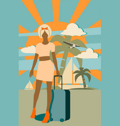 woman traveler silhouette standing with baggage vector image