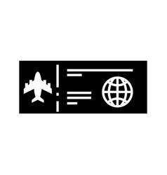 black icon airplane ticket cartoon vector image
