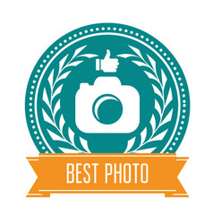 Best photo badge - rating medal for photoservice vector