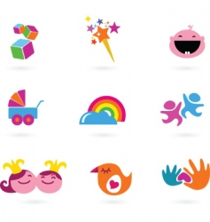 Kids icons playing and toys vector