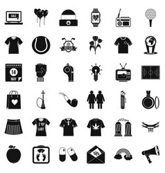 Tshirt icons set simple style vector